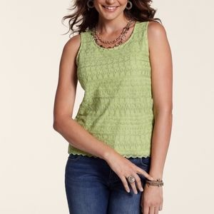 New Chico's Sweet Pea Spaced Lace Scalloped Top
